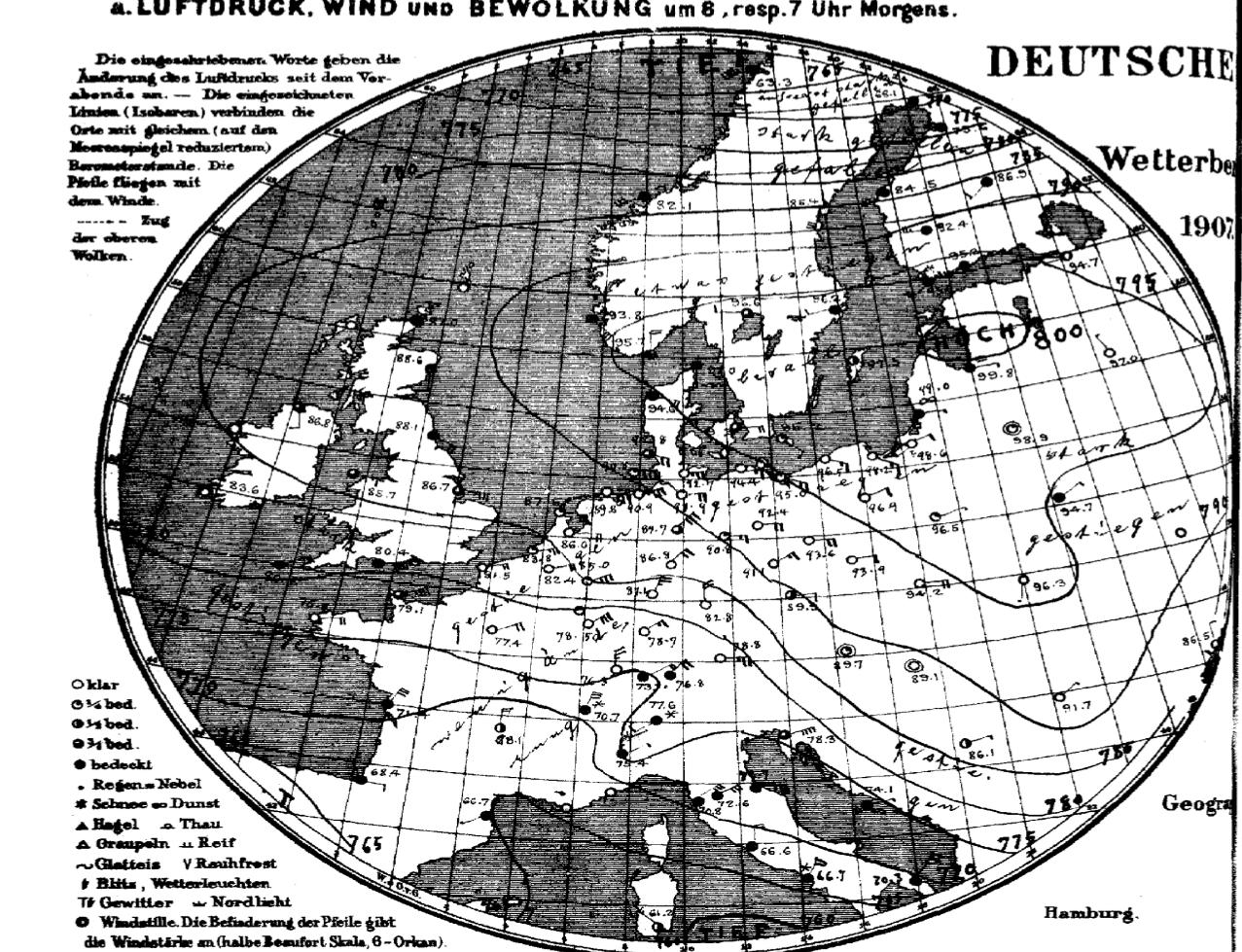 Rozkład ciśnienia nad Europą 23 stycznia 1907.