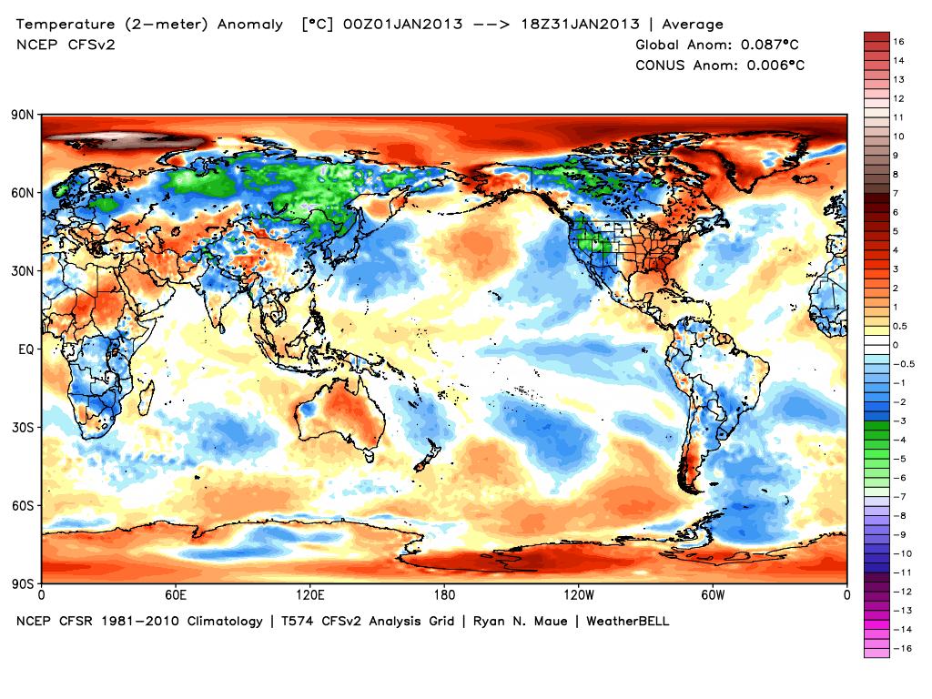 Rozkład anomalii temperatury globalnej w styczniu 2013 wg Ryana Maue (WeatherBell).