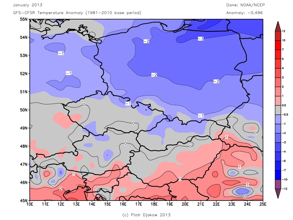 Średnia temperatura stycznia w Europie Środkowej uzyskana na podstawie porównania reanalizy CFSR z analizą GFS.
