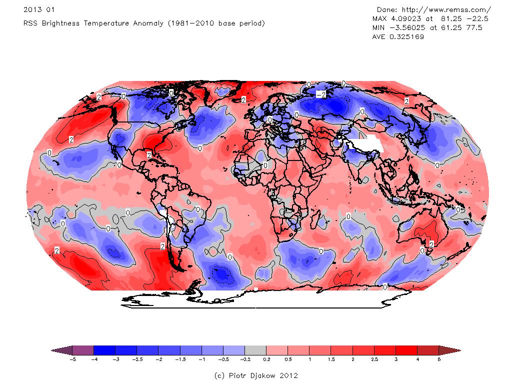 Rozkład odchyleń temperatury od normy w styczniu 2013 wg RSS.