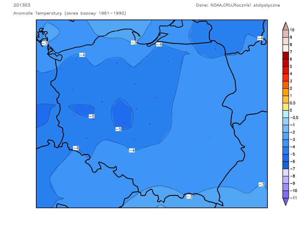 Rozkład anomalii temperatury w Polsce w marcu 2013.