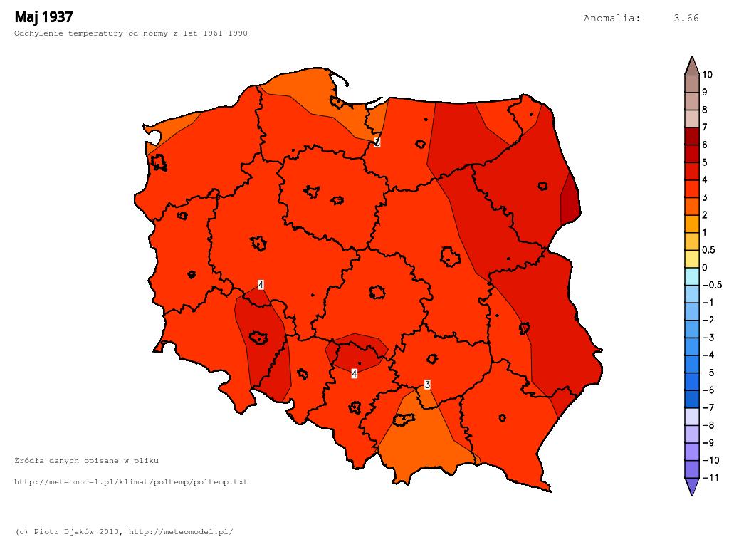 Odchylenie temperatury od normy 1961-1990 w maju 1937.