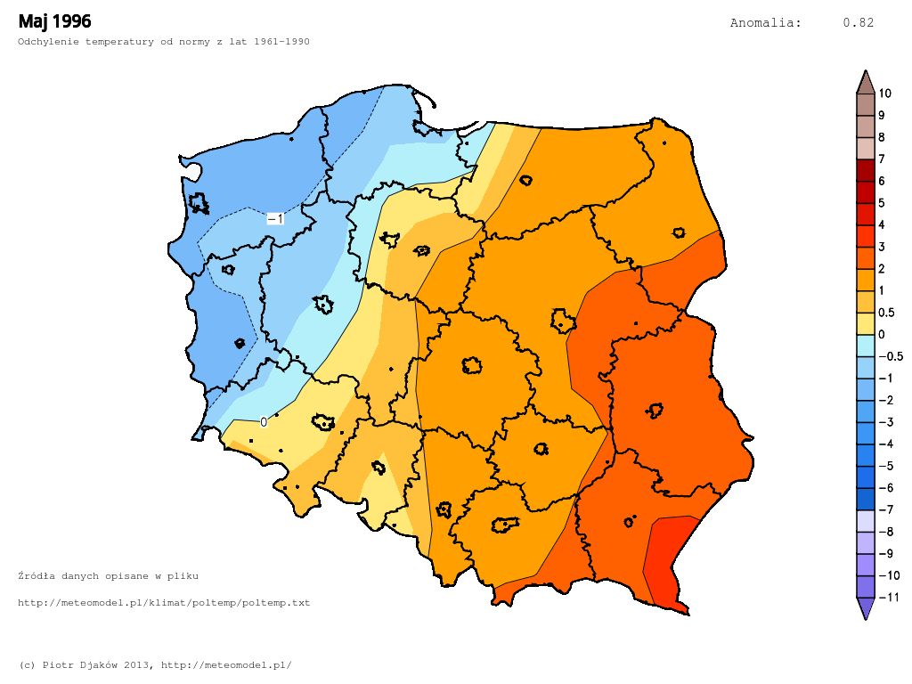 Odchylenie temperatury od normy 1961-1990 w maju 1996.