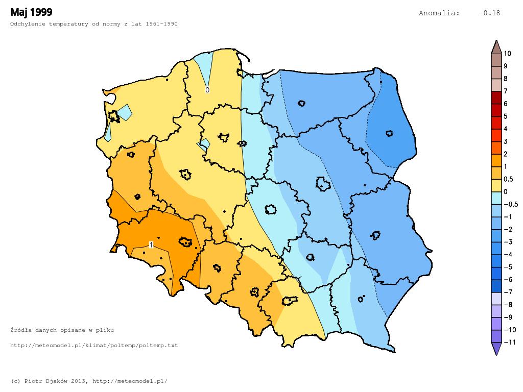 Odchylenie temperatury od normy 1961-1990 w maju 1999.