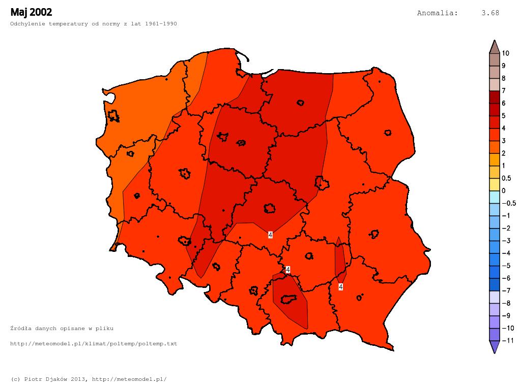 Odchylenie temperatury od normy 1961-1990 w maju 2002.
