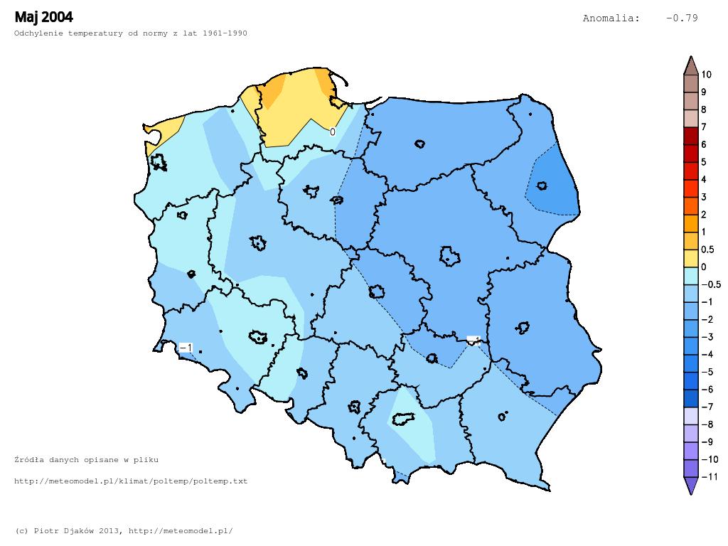 Odchylenie temperatury od normy 1961-1990 w maju 2004.