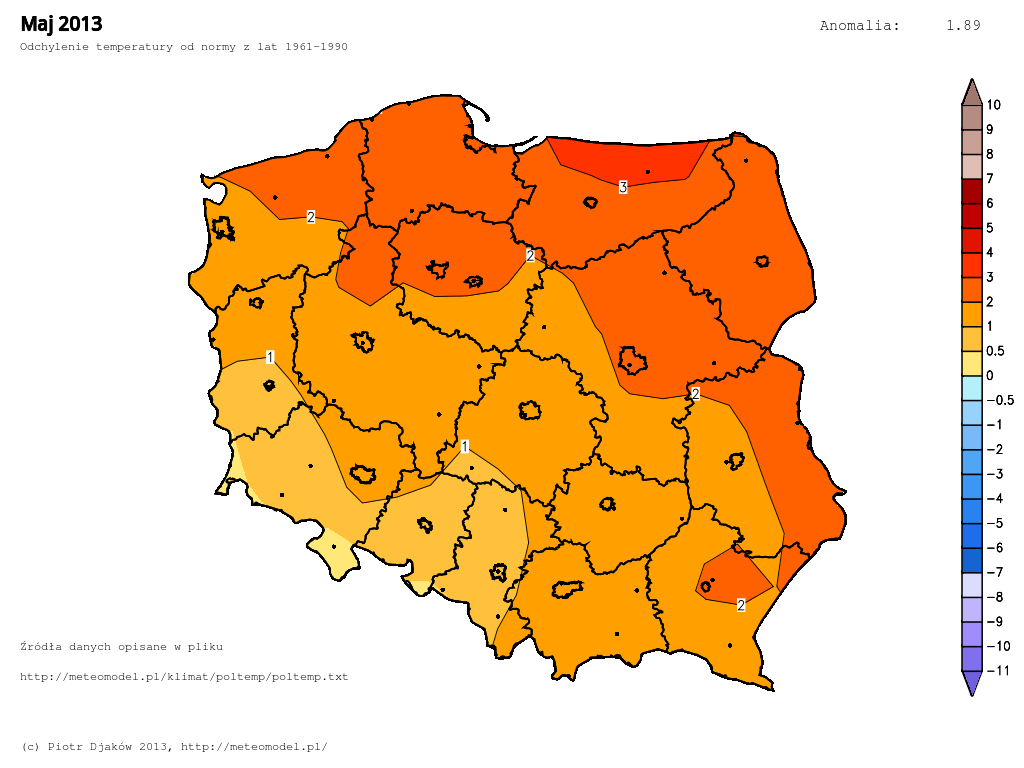 Odchylenie temperatury od normy 1961-1990 w maju 2013.